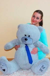 плюшевый медведь серый 130 см