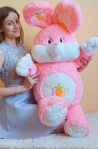 Плюшевый заяц 150 см розовый