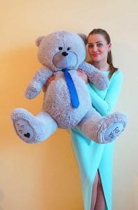 Плюшевый медведь 130 см серый