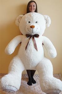 Плюшевый медведь 170 см белый с бантиком