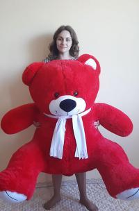 Плюшевый медведь 160 см красного цвета с белым шарфиком