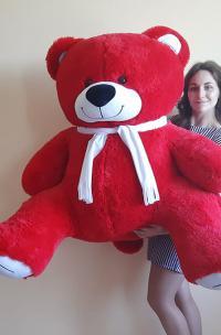 Плюшевый медведь 160 см красного цвета