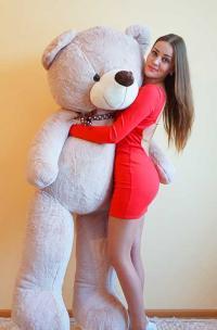 Огромный плюшевый медведь 220 см кремовый
