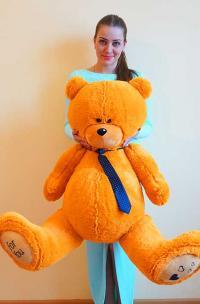Плюшевый медведь 130 см оранжевый