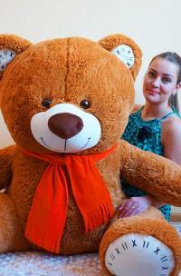Большой плюшевый медведь 190 см коричневый
