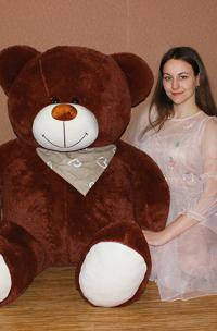 Большой плюшевый медведь 170 см коричневый