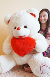 Плюшевый медведь 145 см с сердцем