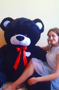 Плюшевый медведь 190 см Черный с сердцем