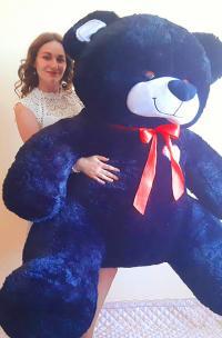 Плюшевый медведь 190 см Черный с красным бантом
