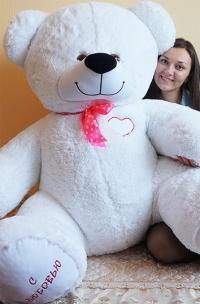 Плюшевый медведь 200 см с любовью белый