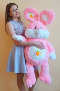 Большой плюшевый заяц 130 см розовый