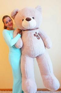 Большой плюшевый медведь 200 см кремовый