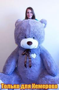 Огромный плюшевый медведь 240 см Серый