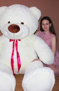 Огромный плюшевый медведь 220 см молочный