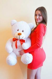 Плюшевый медведь 110 см бежевый